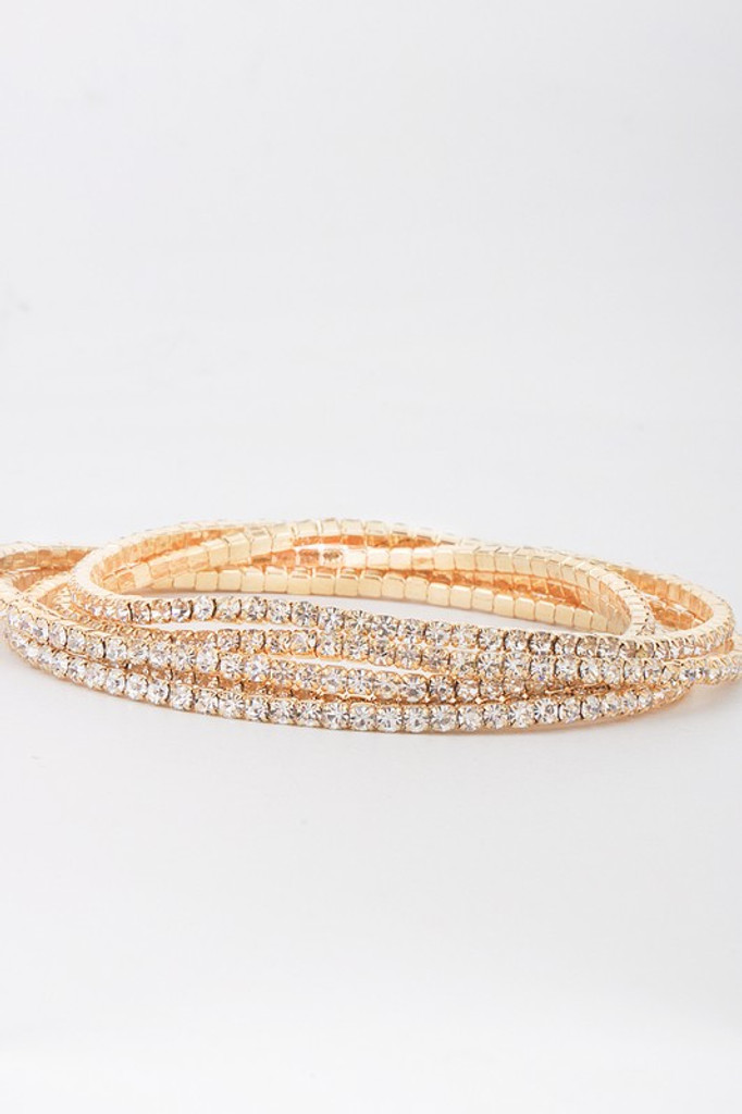 James Gold Embellished Pave Rhinestones Stretchy Bracelet Set