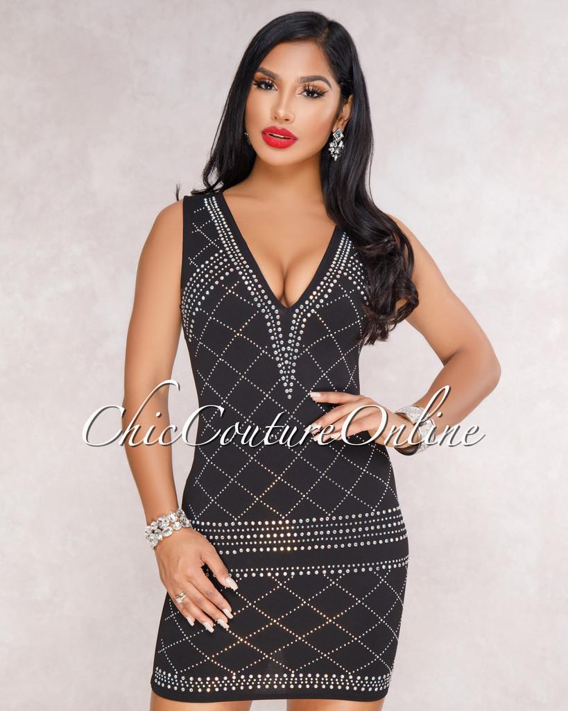 Shantana Black Rhinestones Embellished Dress