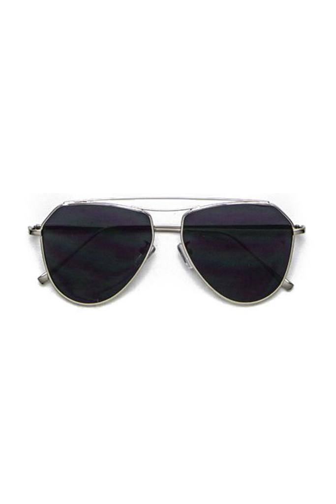 Retro Black Flat Lens Aviator Sunglasses
