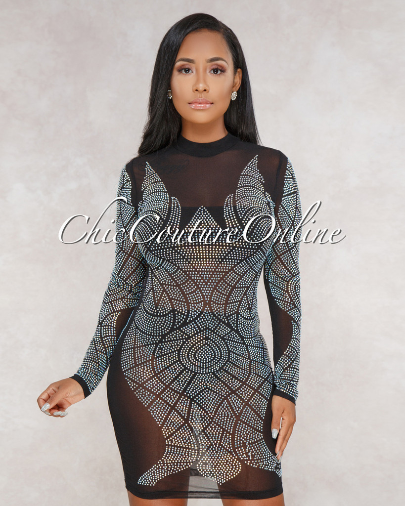 Allie Black Nude Illusion Rhinestones Embellished Dress