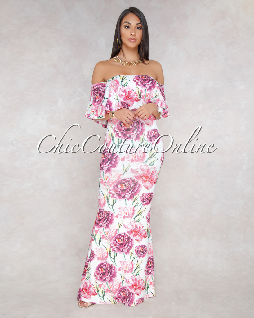Kenyata Off White Pink Floral Print Off-The-Shoulder Maxi Dress
