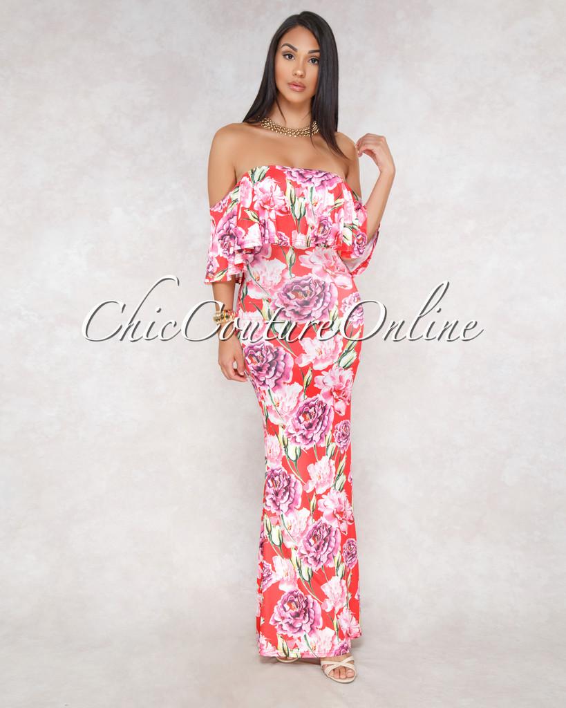 Kenyata Red Pink Floral Print Off-The-Shoulder Maxi Dress
