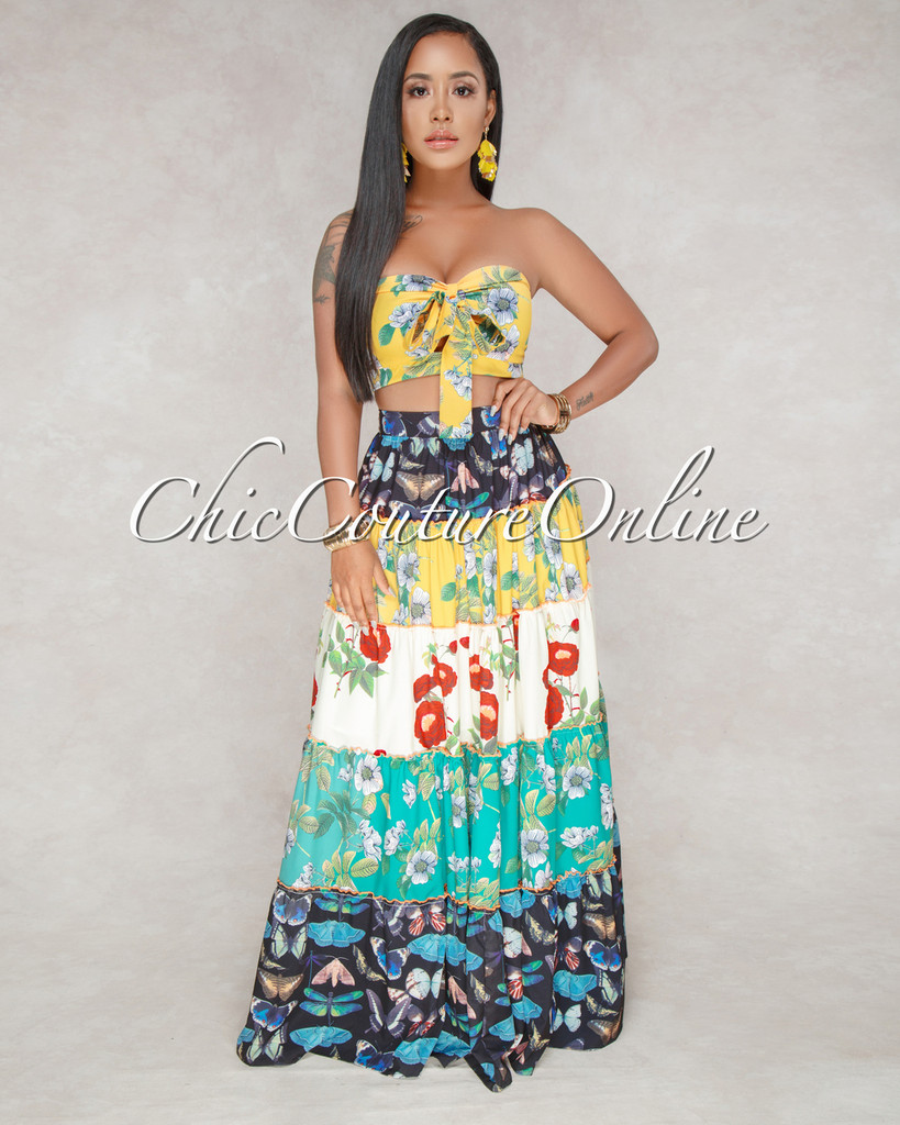 Marilu Multi-Color Floral Two Piece Skirt Set