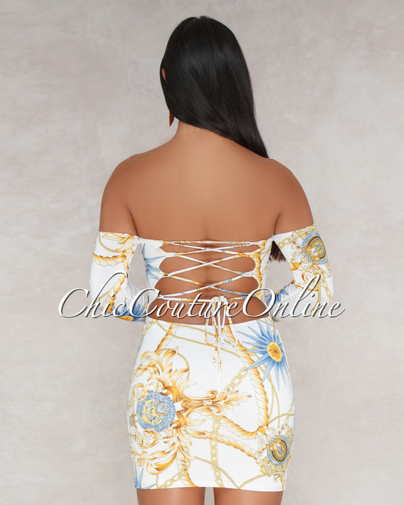 Somaya White Printed Off The Shoulder Dress