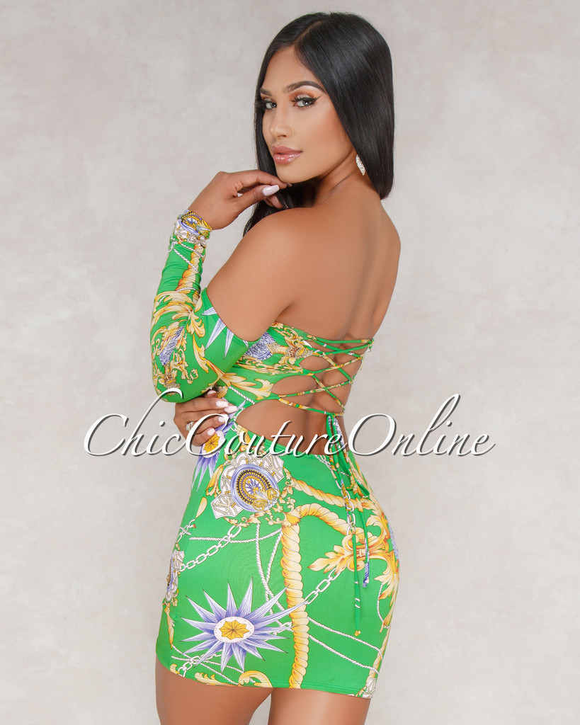 Somaya Green Printed Off The Shoulder Dress