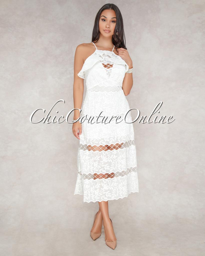 Caria Off-White Crochet Cut Out Midi Dress