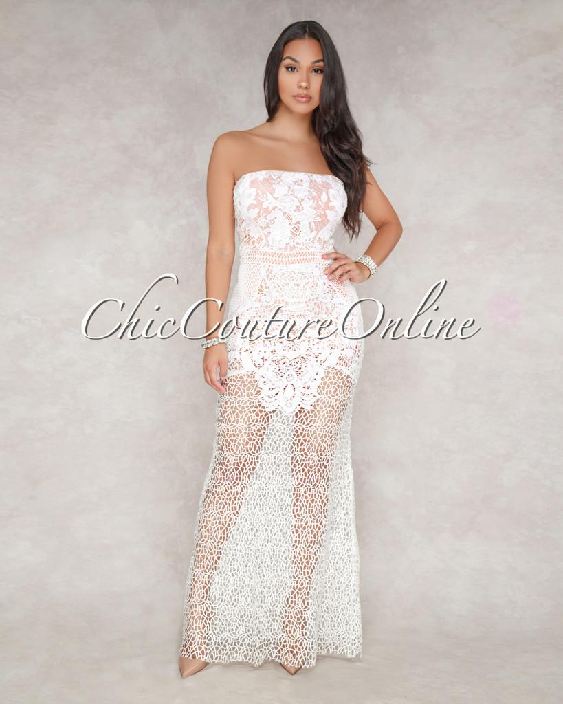 Miranda Off White Crochet Nude Illusion Maxi Dress