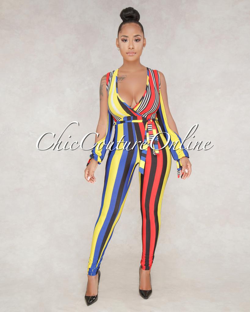 Ryder Yellow Multi-Color Stripe Cold Shoulder Jumpsuit