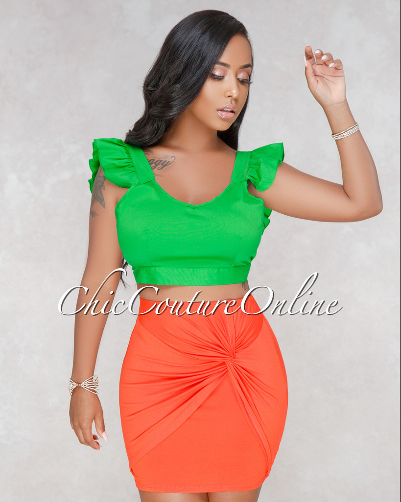 Claribel Orange Knot Front Mini Skirt