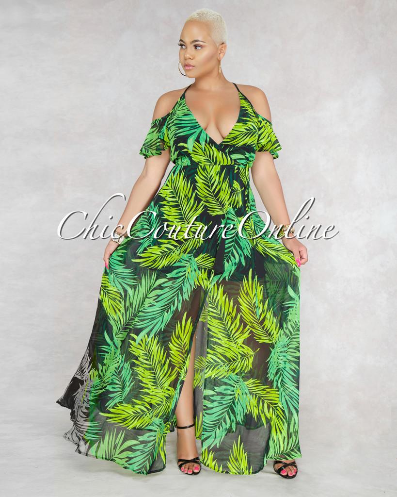 Sonya Black Green Leaf Print Wrap Maxi Dress