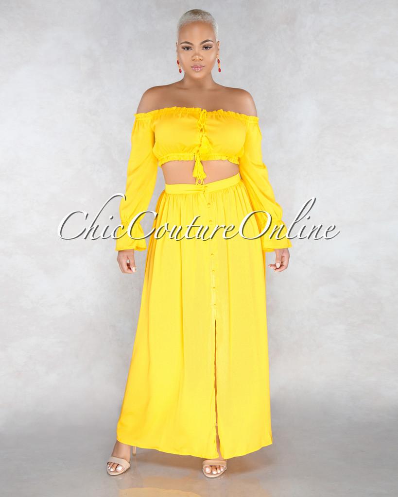 Nalda Yellow Rushed Skirt Two Piece Set