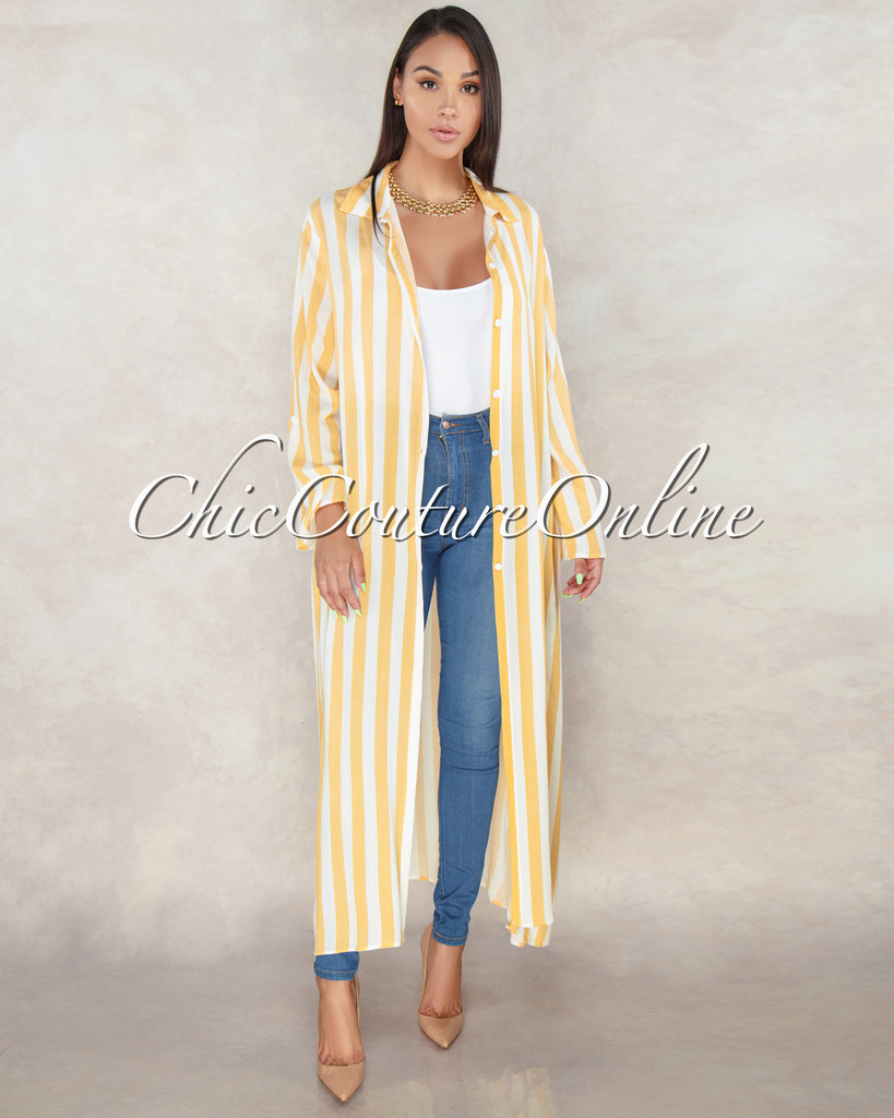 Elsa Sunspot Yellow Stripes Buttons Maxi Duster