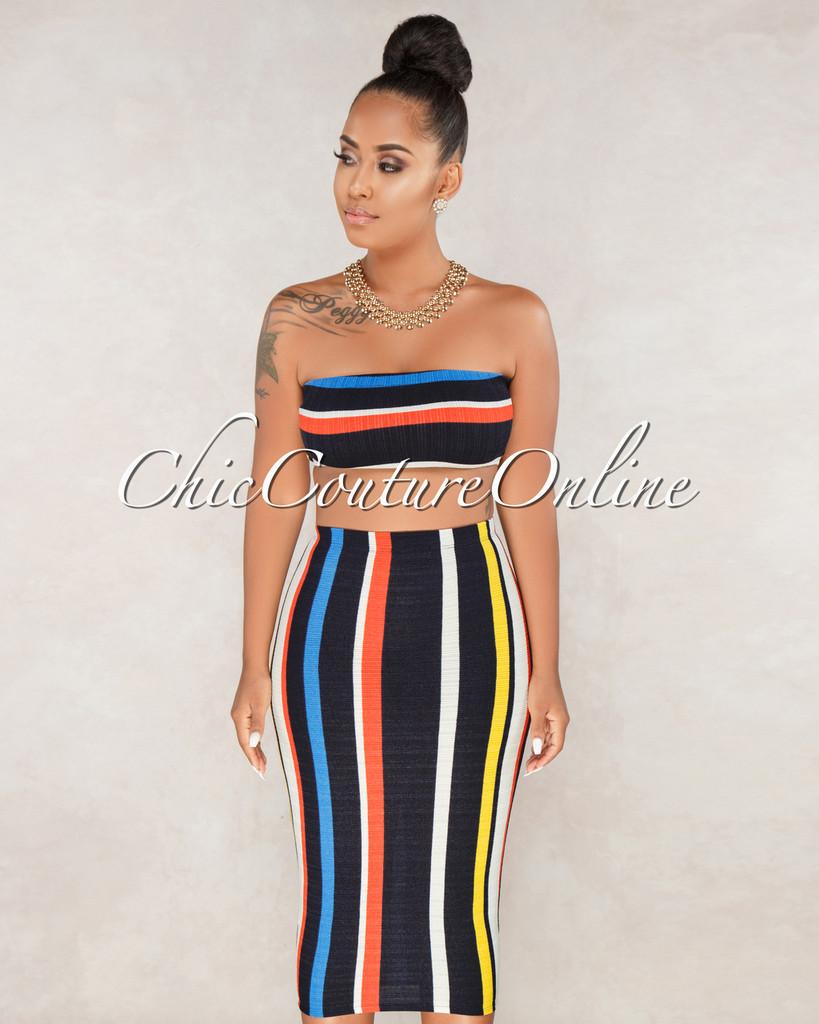 Mangela Multi Color Stripes Two Piece Set
