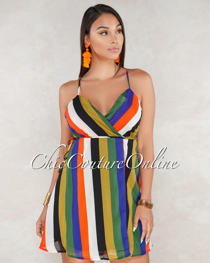 Elianna Multi Color Stripe Wrap Dress