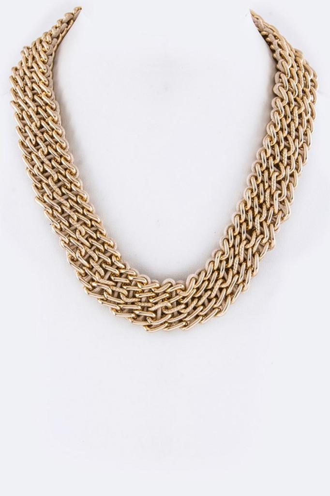Iris Golden Laced Chain Statement Necklace