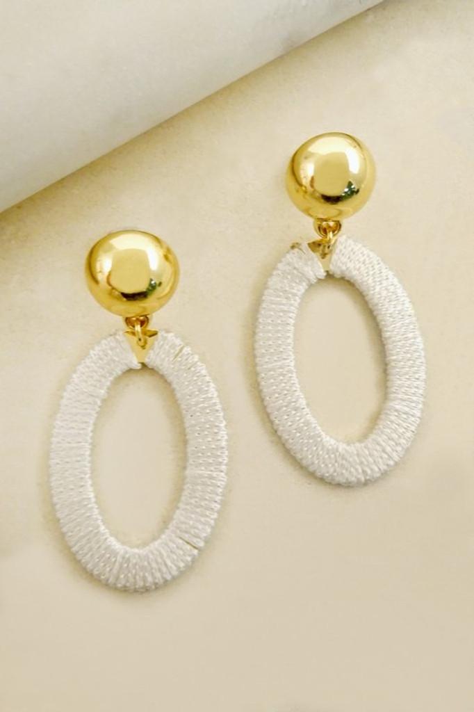 Treena White Golden Wrapped in Thread Dangle Earrings