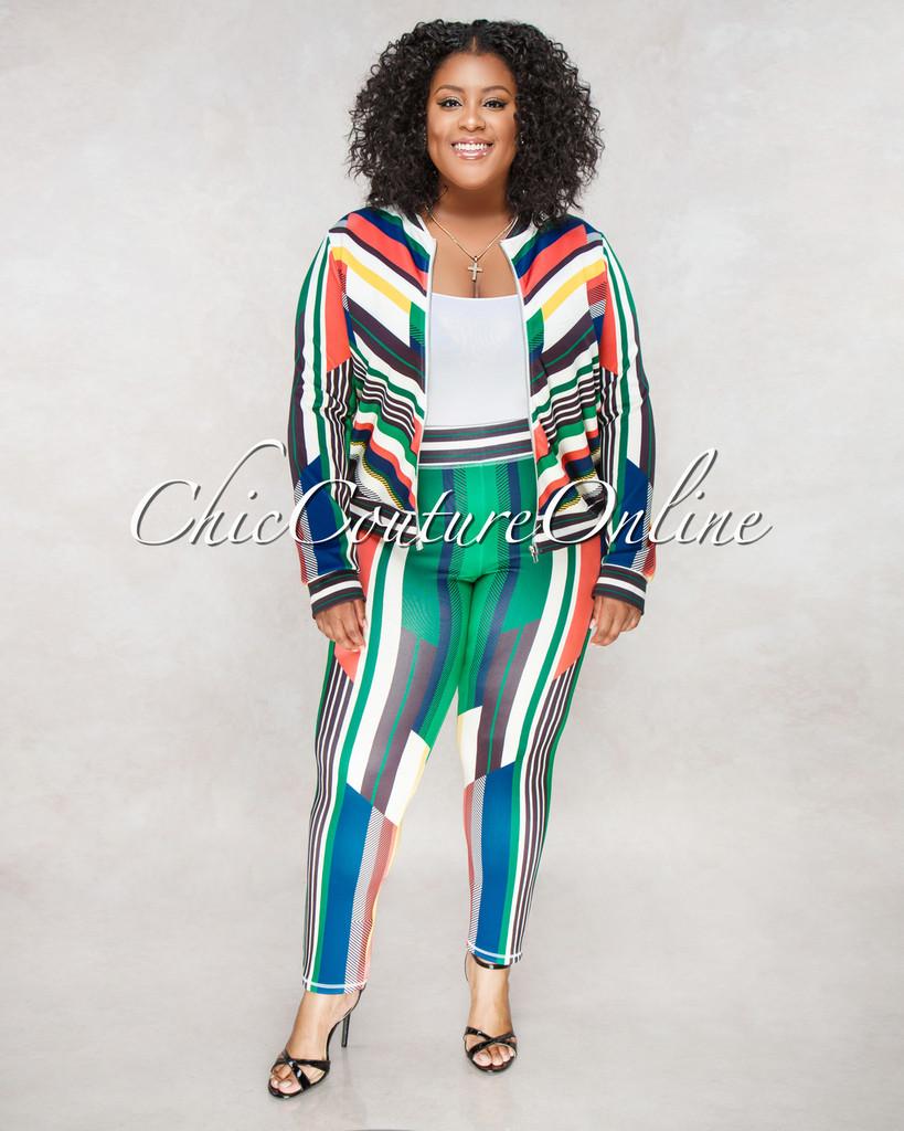 Samaya Black Multi Color Stripes CURVACEOUS Set