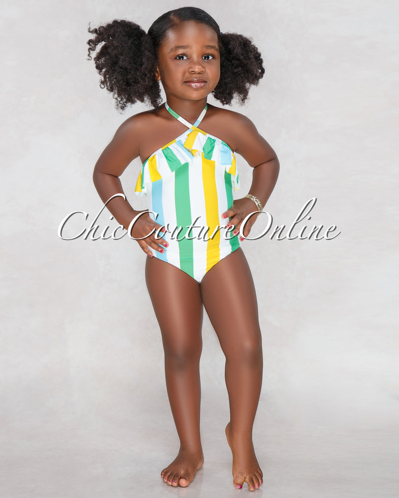 Candy Off White Green Stripes Kids Swimsuit