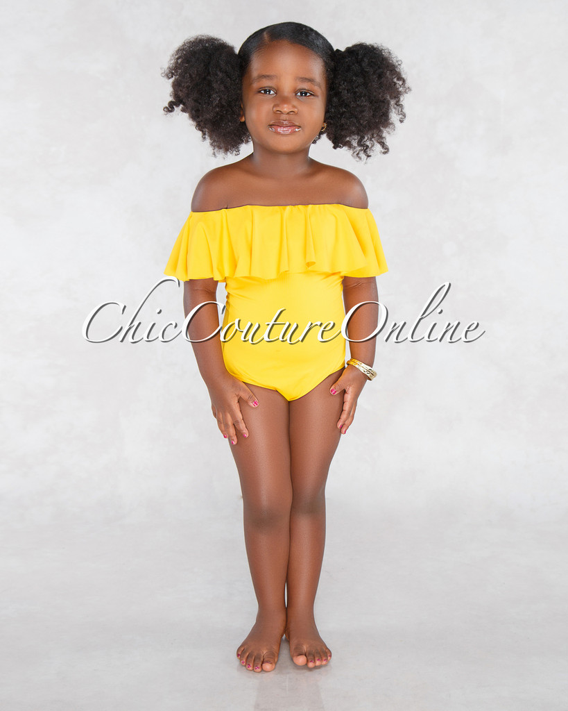 Lolly Yellow Off The Shoulder Kids Swimsuit