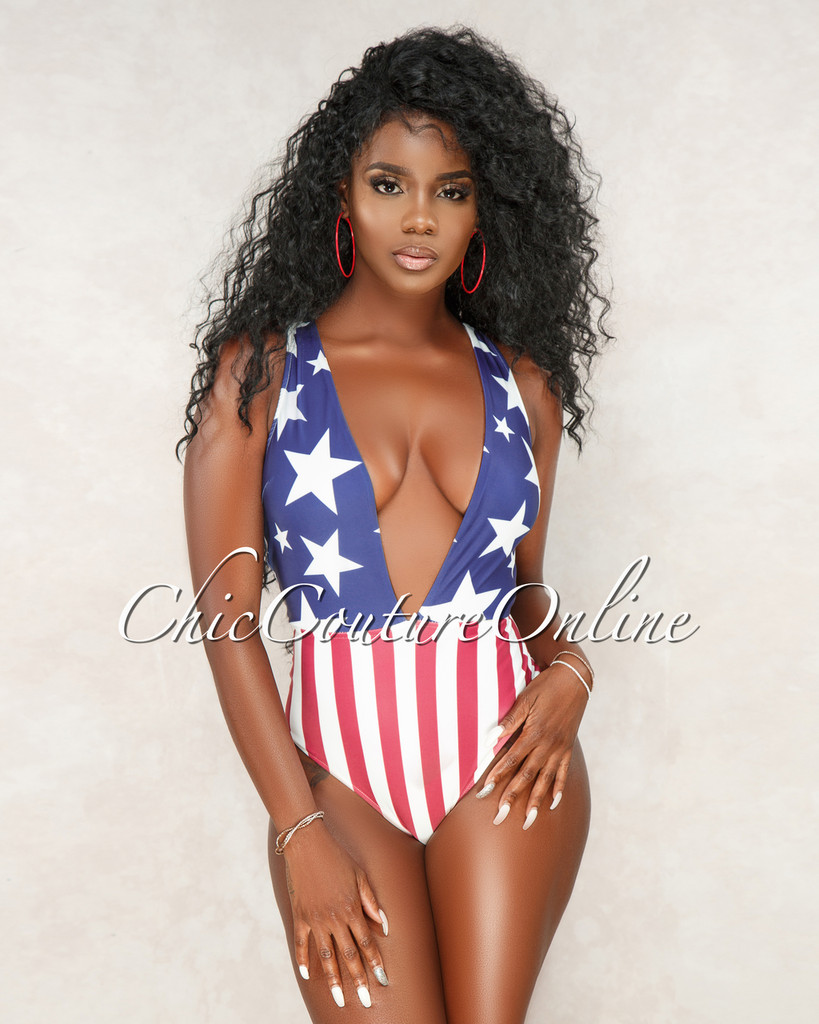 Scala American Flag One Piece Swimsuit