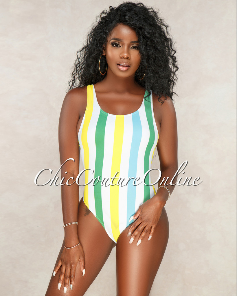 Oriana Off White Blue Yellow Stripes One Piece Swimsuit