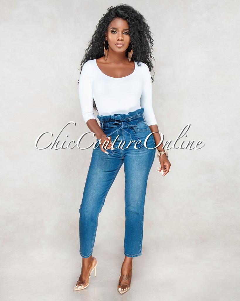 Masson Blue High Waist Paper Bag Belt Jeans