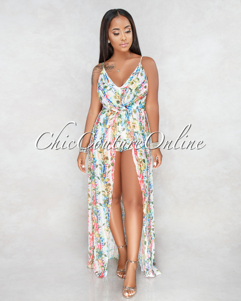 Azalea Ivory Multi Color Print Romper Maxi Dress