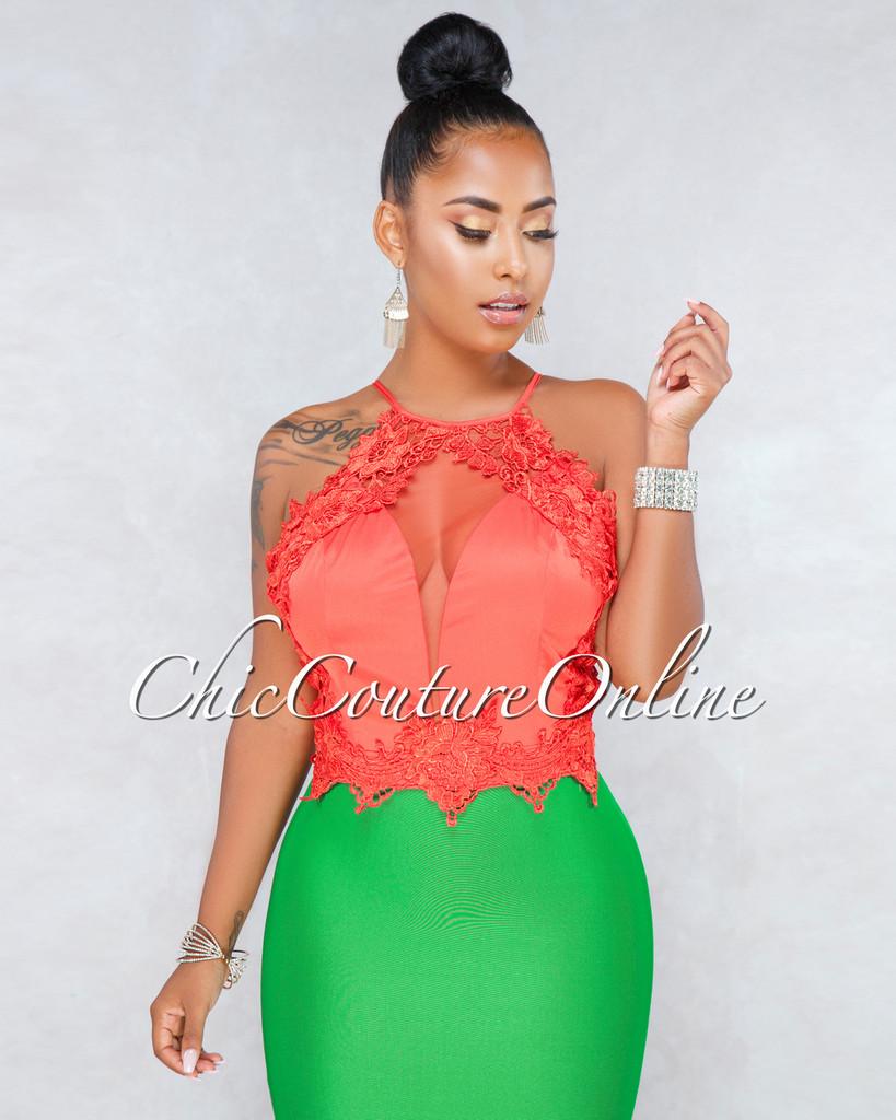 Lirio Orange Crochet Mesh Luxe Crop Top