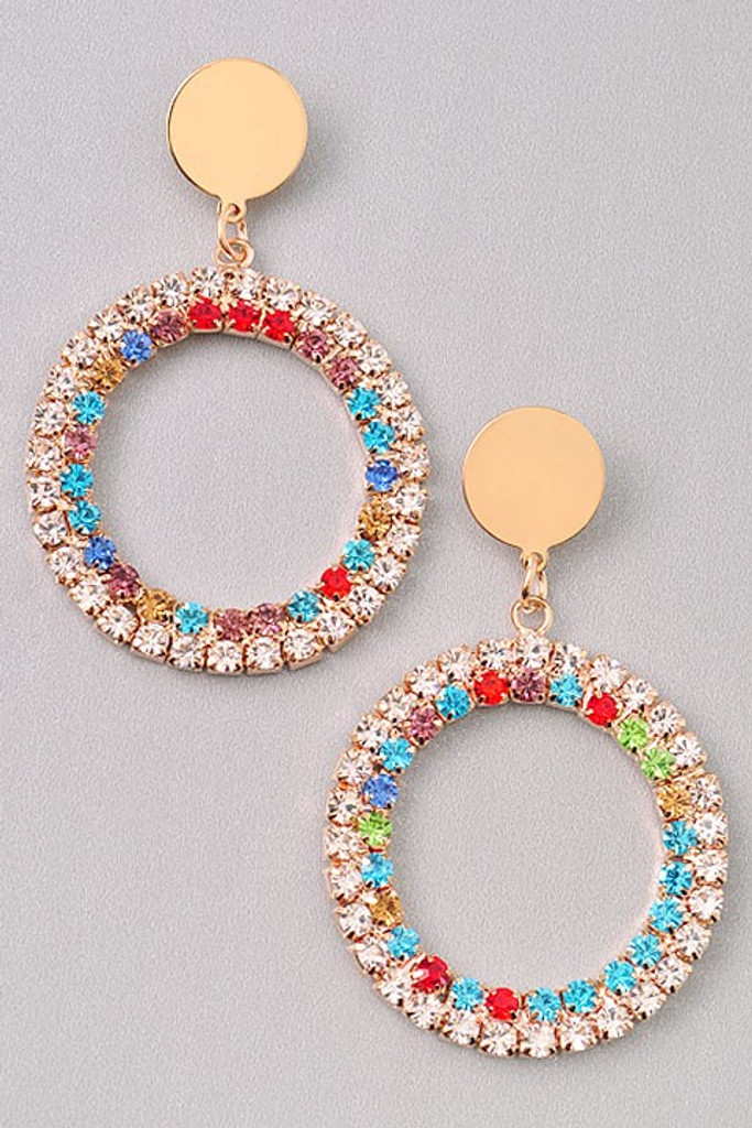 Cindi Golden Multi Color Rhinestones Hoop Earrings