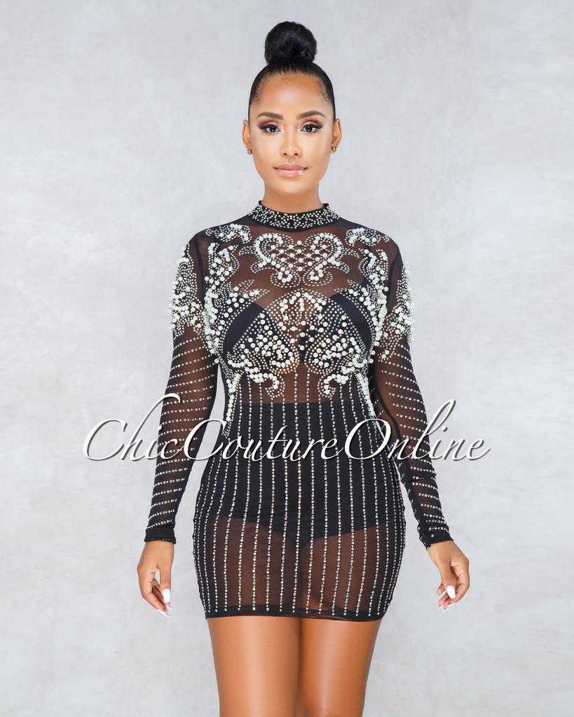 Zoila Black Pearl Embellishment Mini Dress