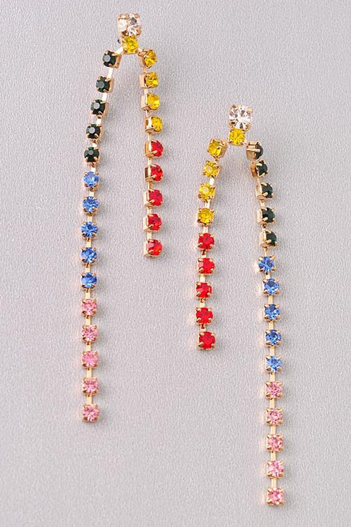 Bell Multi Color Rhinestines Dangle Earrings