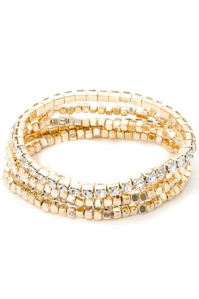 Kisha Golden Five Piece Beaded Rhinestone Bracelet