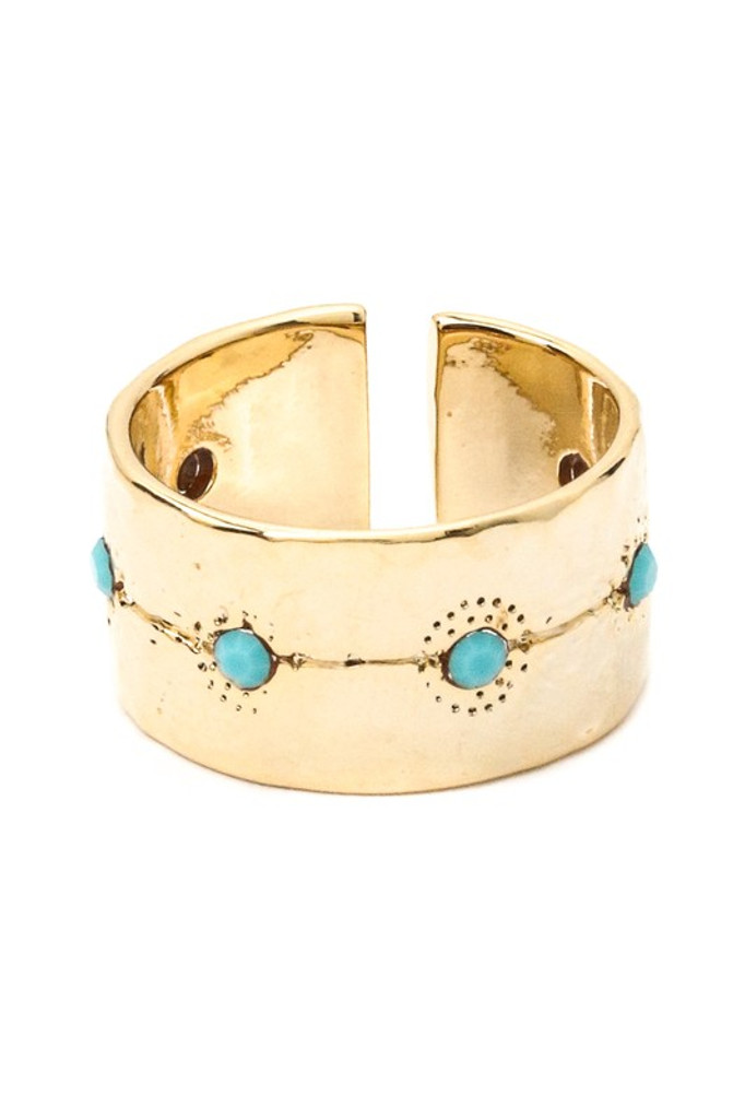 Savannah Golden Turquoise Open Ring