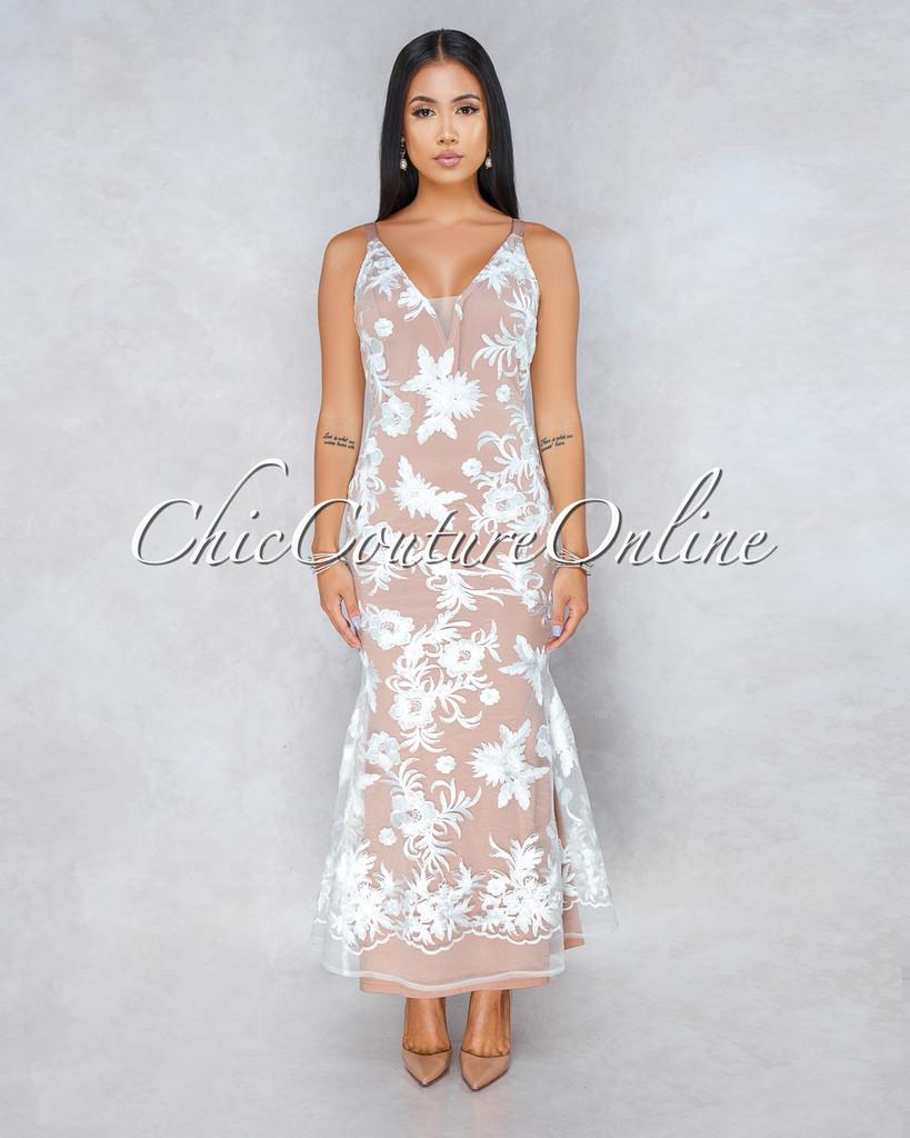 Bexley White Embroidery Nude Illusion Maxi Dress
