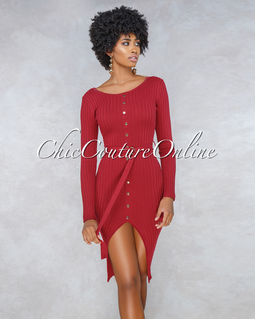 Jade Burgundy Gold Buttons Belt Ribbed Dress