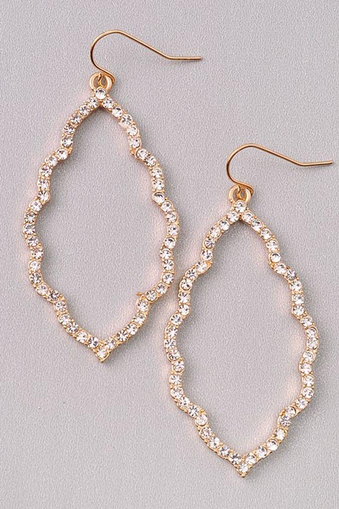 Vanessa Golden Pavé Crystal Stones Dangle Earrings