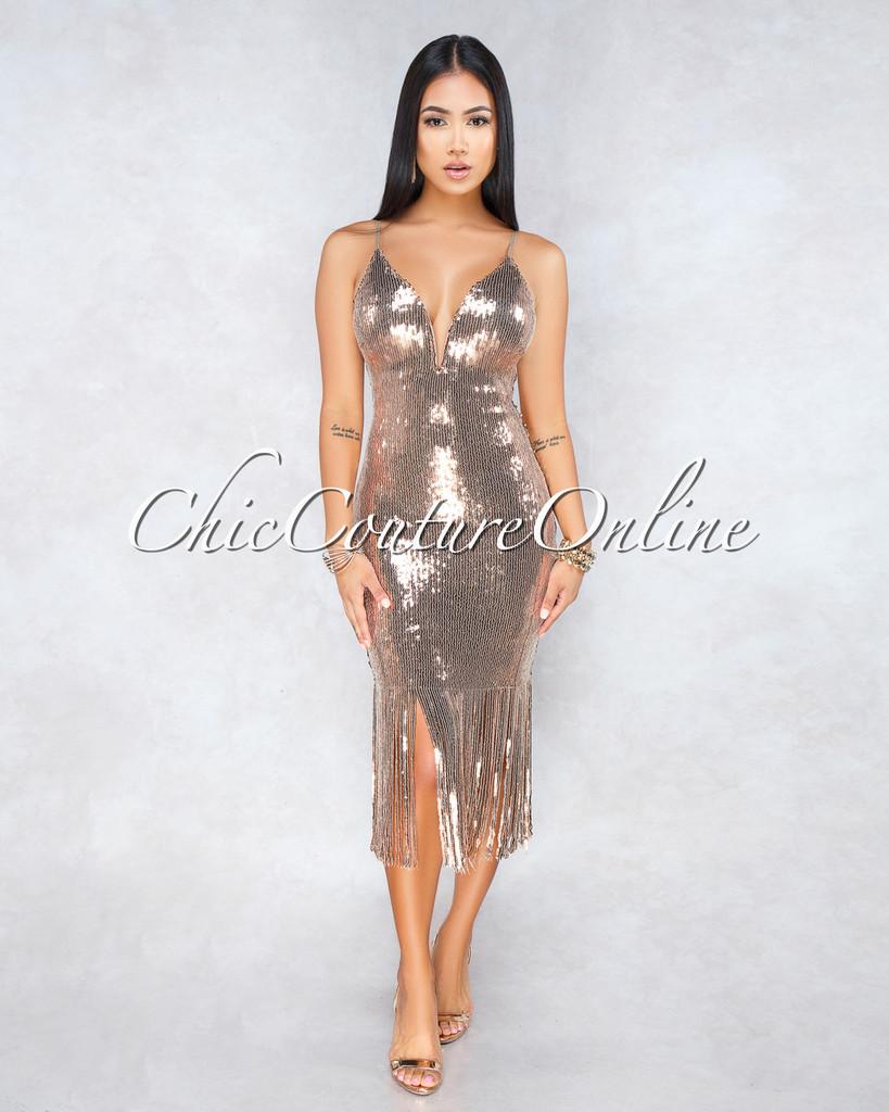 Syanna Nude Rose Gold Sequins Fringe Midi Dress