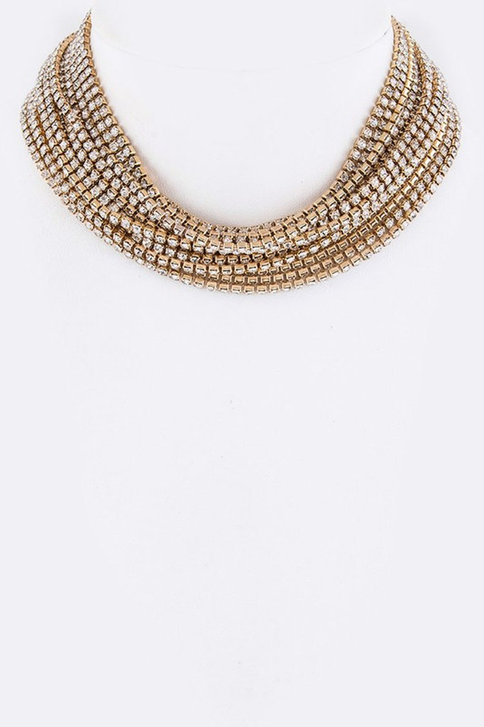 Amma Golden Multi Strand Pavé Choker Necklace