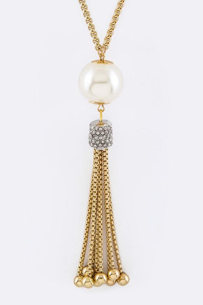 Medina Gold Pearl & Tassels Pendant Necklace