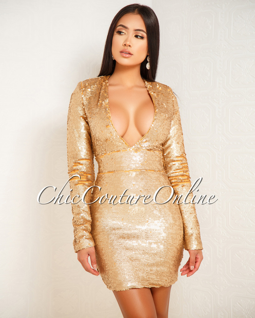 Magdalina Yellow Gold Sequins Long Sleeves Dress