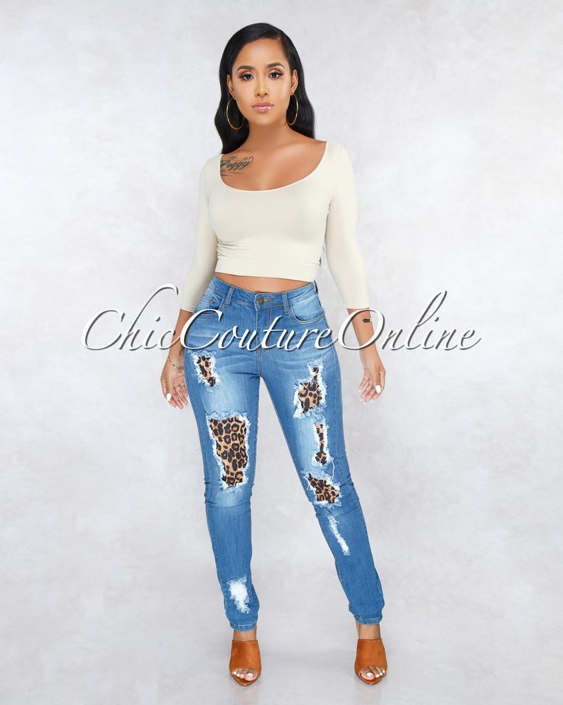 Kalissa Medium Wash Denim Destroyed Leopard Jeans