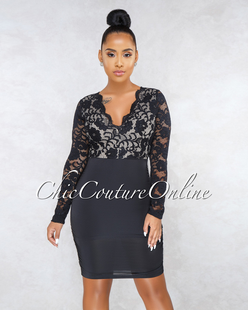 Stefania Black Nude Lace Top Long Sleeves Dress