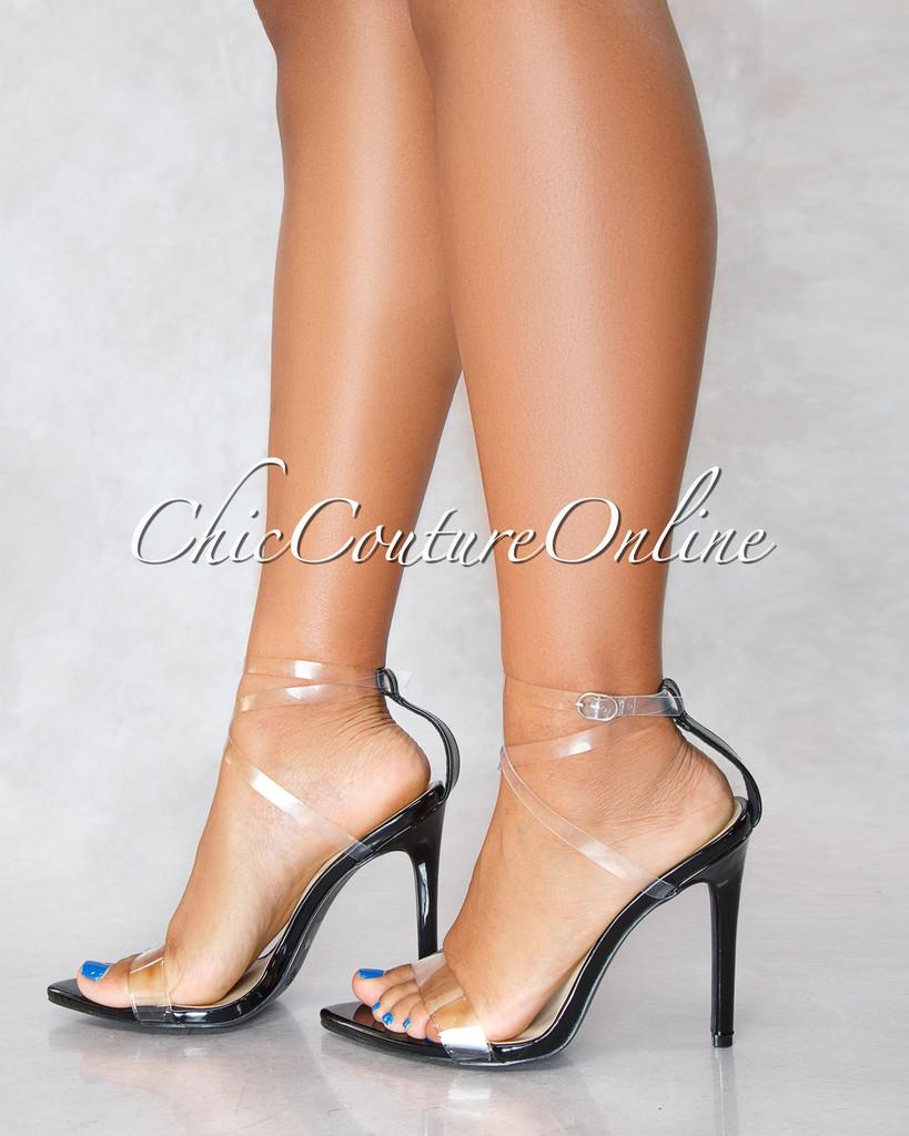Carmy Black Clear Strap High Heels