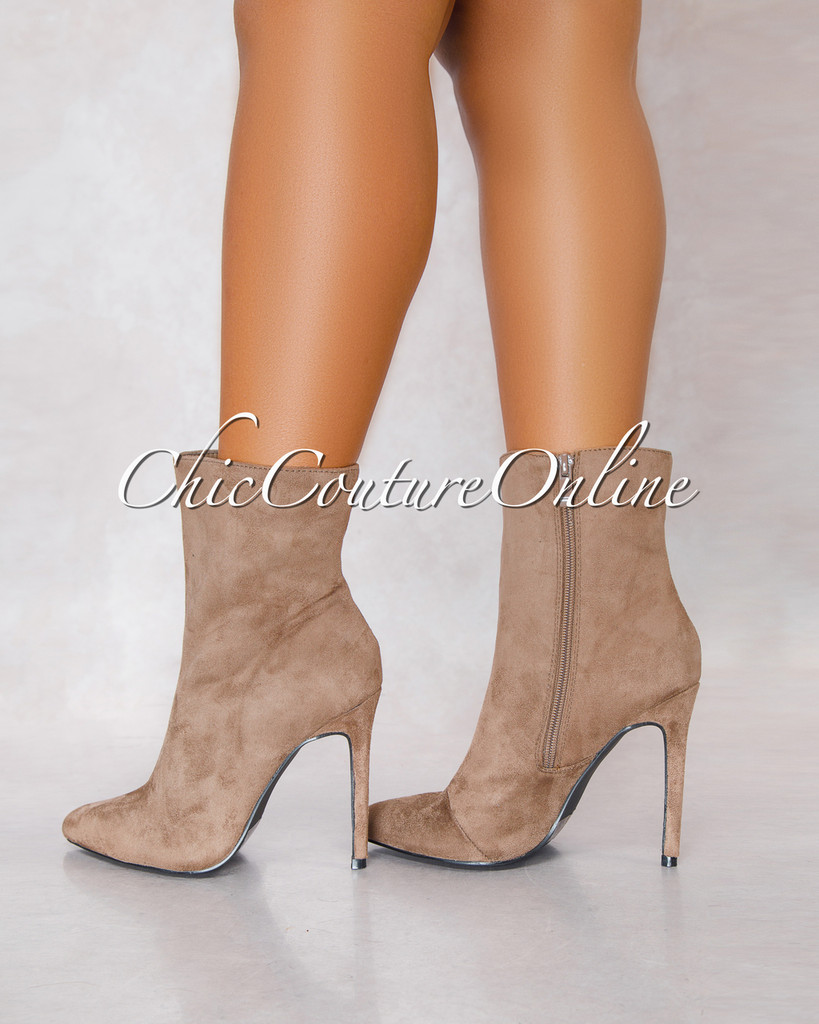 Gisele Taupe Faux Suede Pointy Booties