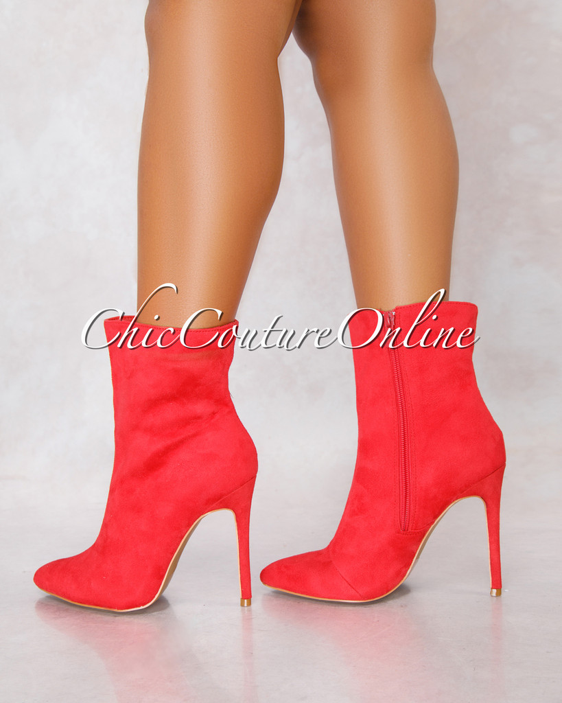 Gisele Red Faux Suede Pointy Booties