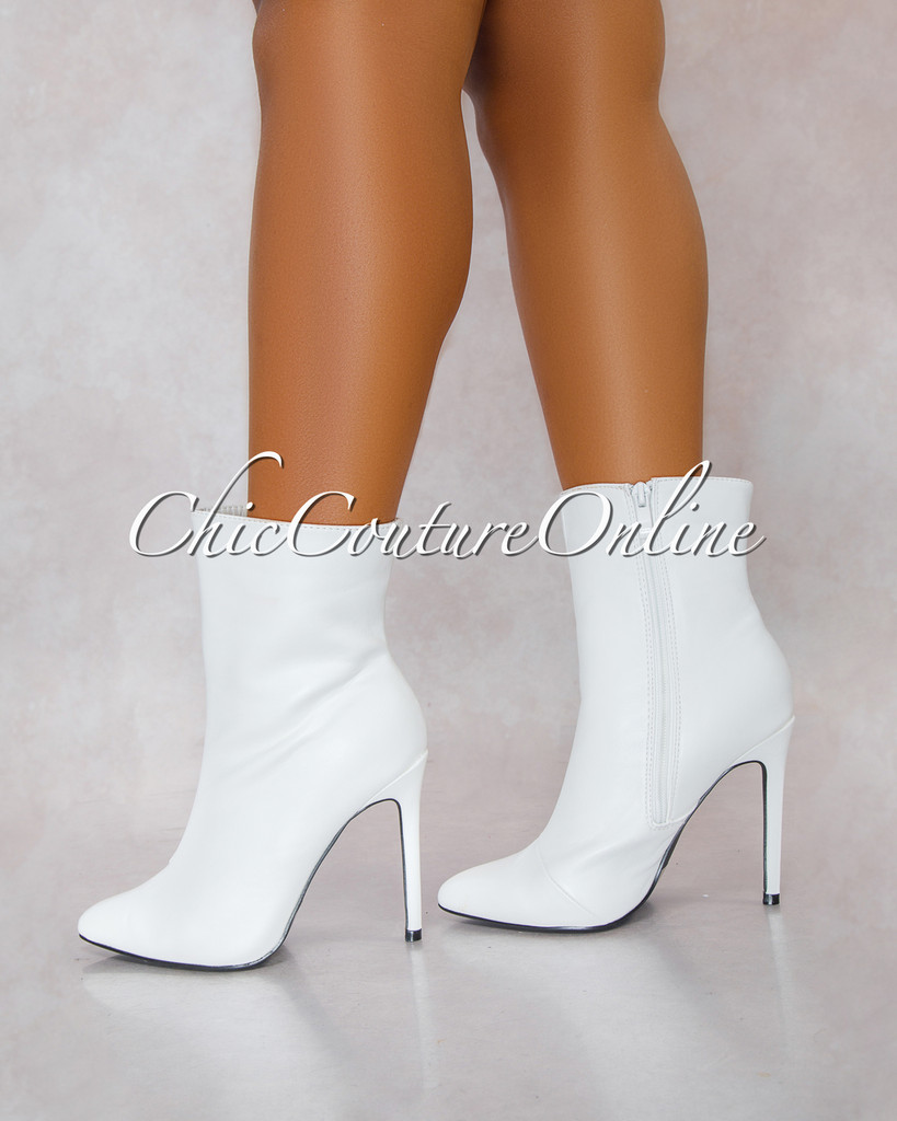 Gisele White Faux Leather Booties