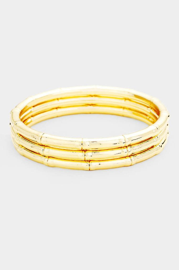 Elana Gold Multi Layered Textured Metal Bangles