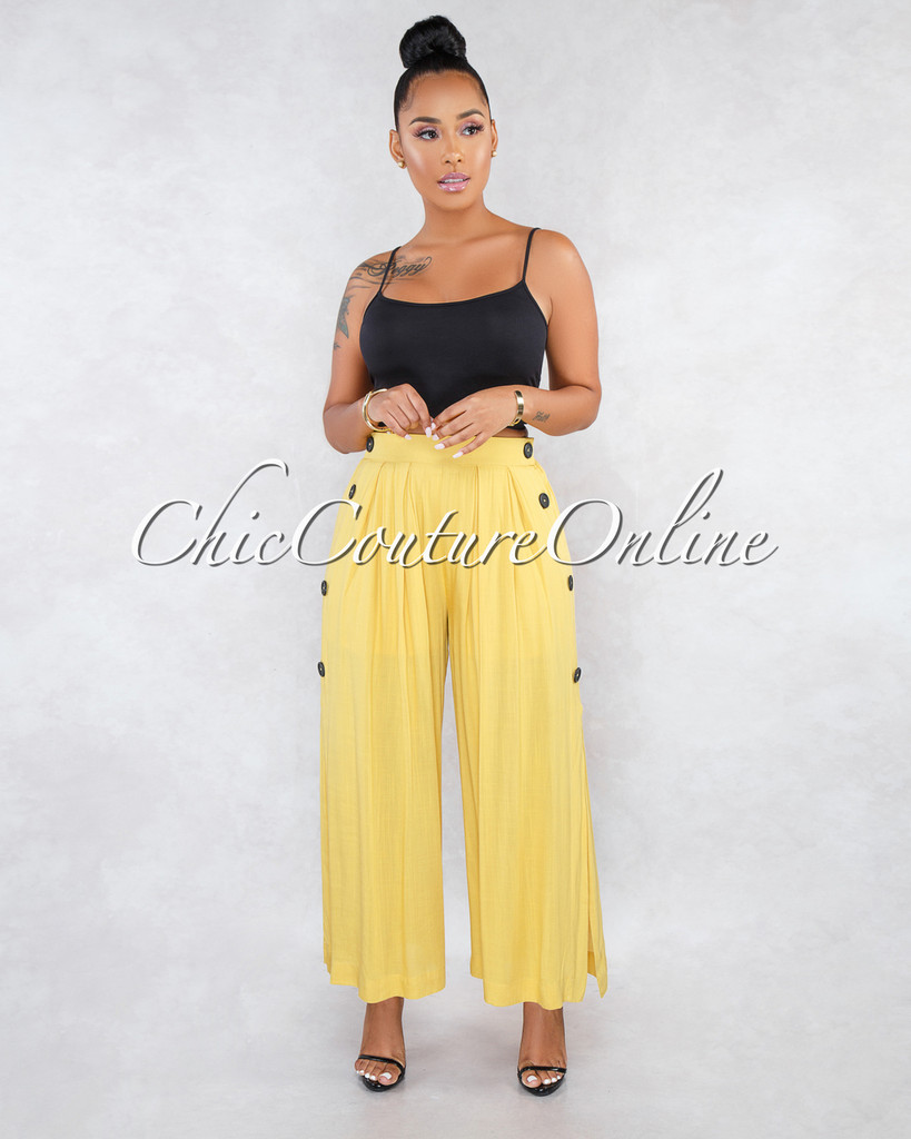 Kiki Mustard Yellow Side Buttons Wide Pleated Pants