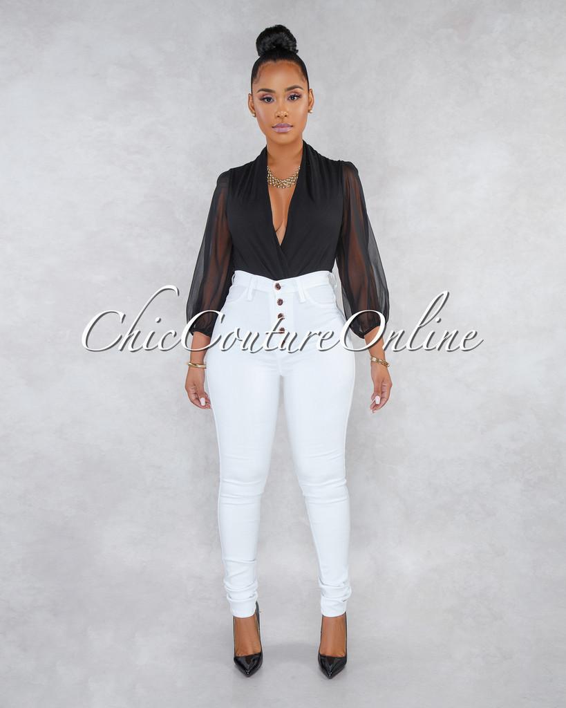 Kiana White Button Up High Waist Skinny Jeans