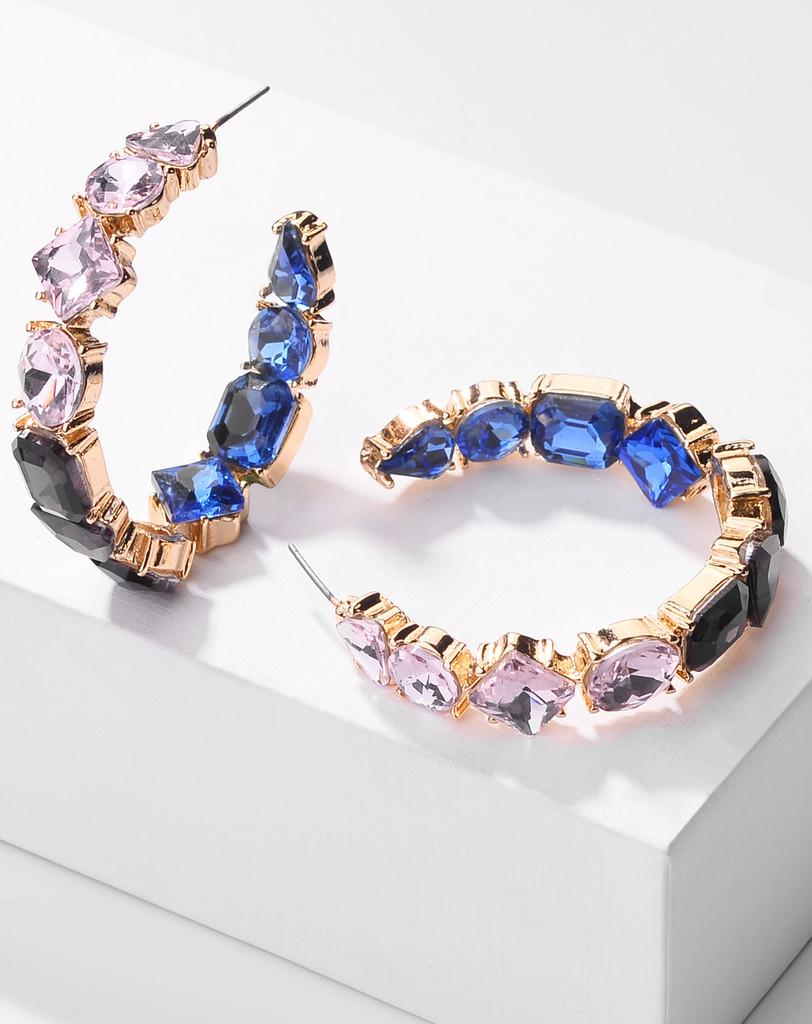EllaMay Multi Color Stones C Shape Hoop Earrings